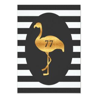 77th Birthday Gold Flamingo Black White Stripes Card