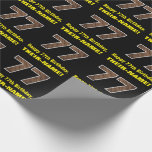 """[ Thumbnail: 77th Birthday: Name & Faux Wood Grain Pattern """"77"""" Wrapping Paper ]"""