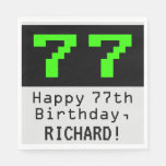 """[ Thumbnail: 77th Birthday - Nerdy / Geeky Style """"77"""" & Name Napkins ]"""