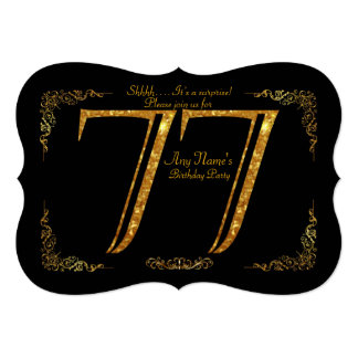 77th,Birthday party 77th,great Gatsby,black & gold Card