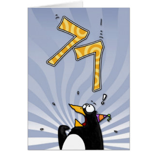 77th Birthday - Penguin Surprise Card