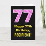 "[ Thumbnail: 77th Birthday: Pink Stripes and Hearts ""77"" + Name Card ]"