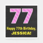 "[ Thumbnail: 77th Birthday: Pink Stripes and Hearts ""77"" + Name Napkins ]"