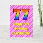 [ Thumbnail: 77th Birthday: Pink Stripes & Hearts, Rainbow # 77 Card ]