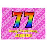 [ Thumbnail: 77th Birthday: Pink Stripes & Hearts, Rainbow # 77 Gift Bag ]