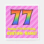 [ Thumbnail: 77th Birthday: Pink Stripes & Hearts, Rainbow # 77 Napkins ]