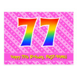 [ Thumbnail: 77th Birthday: Pink Stripes & Hearts, Rainbow 77 Postcard ]
