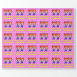 [ Thumbnail: 77th Birthday: Pink Stripes & Hearts, Rainbow # 77 Wrapping Paper ]