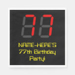 "[ Thumbnail: 77th Birthday: Red Digital Clock Style ""77"" + Name Napkins ]"