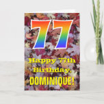 "[ Thumbnail: 77th Birthday; Rustic Autumn Leaves; Rainbow ""77"" Card ]"
