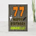 [ Thumbnail: 77th Birthday: Spooky Halloween Theme, Custom Name Card ]