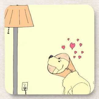 784 dog loves lamp Cartoon Drink Coaster
