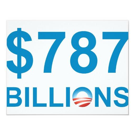 $787 BILLIONS 4.25X5.5 PAPER INVITATION CARD