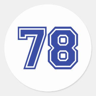 78 - número pegatina redonda