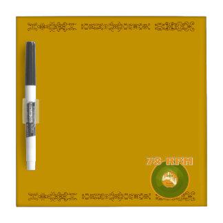 78 RPM Record, Green & Orange Dry Erase Whiteboard