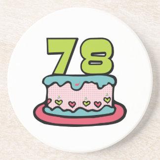 78 Year Old Birthday Cake Sandstone Coaster