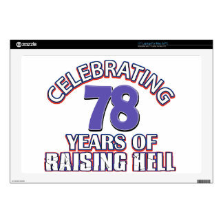 "78 years of raising hell 17"" laptop decal"