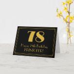 "[ Thumbnail: 78th Birthday: Art Deco Inspired Look ""78"" + Name Card ]"