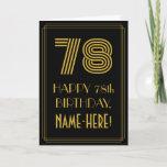 "[ Thumbnail: 78th Birthday: Art Deco Inspired Look ""78"" & Name Card ]"