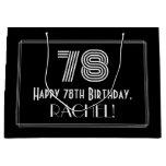 "[ Thumbnail: 78th Birthday — Art Deco Inspired Look ""78"" & Name Gift Bag ]"