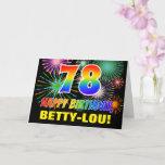 [ Thumbnail: 78th Birthday: Bold, Fun, Fireworks, Rainbow 78 Card ]