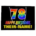[ Thumbnail: 78th Birthday: Bold, Fun, Simple, Rainbow 78 Gift Bag ]