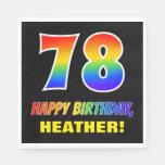 [ Thumbnail: 78th Birthday: Bold, Fun, Simple, Rainbow 78 Napkins ]