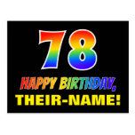 [ Thumbnail: 78th Birthday: Bold, Fun, Simple, Rainbow 78 Postcard ]