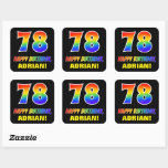 [ Thumbnail: 78th Birthday: Bold, Fun, Simple, Rainbow 78 Sticker ]