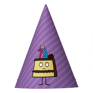 78th Birthday Cake with Candles Party Hat