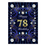 78th birthday card with masses of jewels