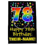 [ Thumbnail: 78th Birthday: Colorful Stars Pattern & Rainbow 78 Gift Bag ]