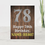 [ Thumbnail: 78th Birthday: Country Western Inspired Look, Name Card ]