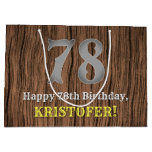 [ Thumbnail: 78th Birthday: Country Western Inspired Look, Name Gift Bag ]