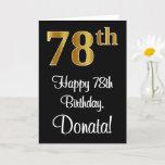[ Thumbnail: 78th Birthday ~ Elegant Luxurious Faux Gold Look # Card ]
