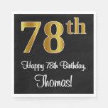 [ Thumbnail: 78th Birthday ~ Elegant Luxurious Faux Gold Look # Napkins ]