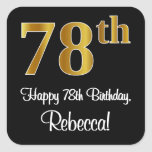 [ Thumbnail: 78th Birthday – Elegant Luxurious Faux Gold Look # Sticker ]