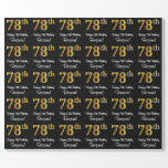 [ Thumbnail: 78th Birthday: Elegant Luxurious Faux Gold Look # Wrapping Paper ]