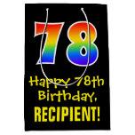 "[ Thumbnail: 78th Birthday: Fun, Bold, Colorful, Rainbow ""78"" Gift Bag ]"