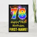 [ Thumbnail: 78th Birthday: Fun Fireworks Pattern + Rainbow 78 Card ]