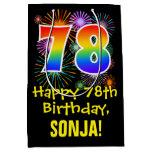 [ Thumbnail: 78th Birthday: Fun Fireworks Pattern + Rainbow 78 Gift Bag ]