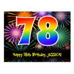 [ Thumbnail: 78th Birthday – Fun Fireworks Pattern + Rainbow 78 Postcard ]