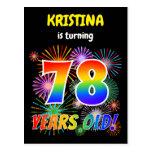 "[ Thumbnail: 78th Birthday - Fun Fireworks, Rainbow Look ""78"" Postcard ]"