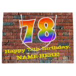 [ Thumbnail: 78th Birthday: Fun, Graffiti-Inspired Rainbow # 78 Gift Bag ]