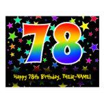 [ Thumbnail: 78th Birthday: Fun Stars Pattern, Rainbow 78, Name Postcard ]