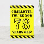 [ Thumbnail: 78th Birthday: Fun Stencil Style Text, Custom Name Card ]
