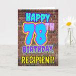 [ Thumbnail: 78th Birthday - Fun, Urban Graffiti Inspired Look Card ]