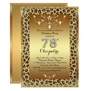 78th Birthday Party Royal Cheetah Gold Plus Invitation