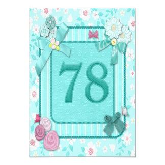"78th birthday party invitation 5"" x 7"" invitation card"