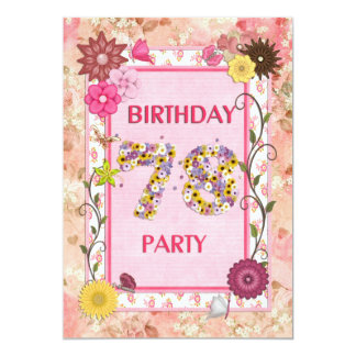 """78th birthday party invitation with floral frame 5"""" x 7"""" invitation card"""